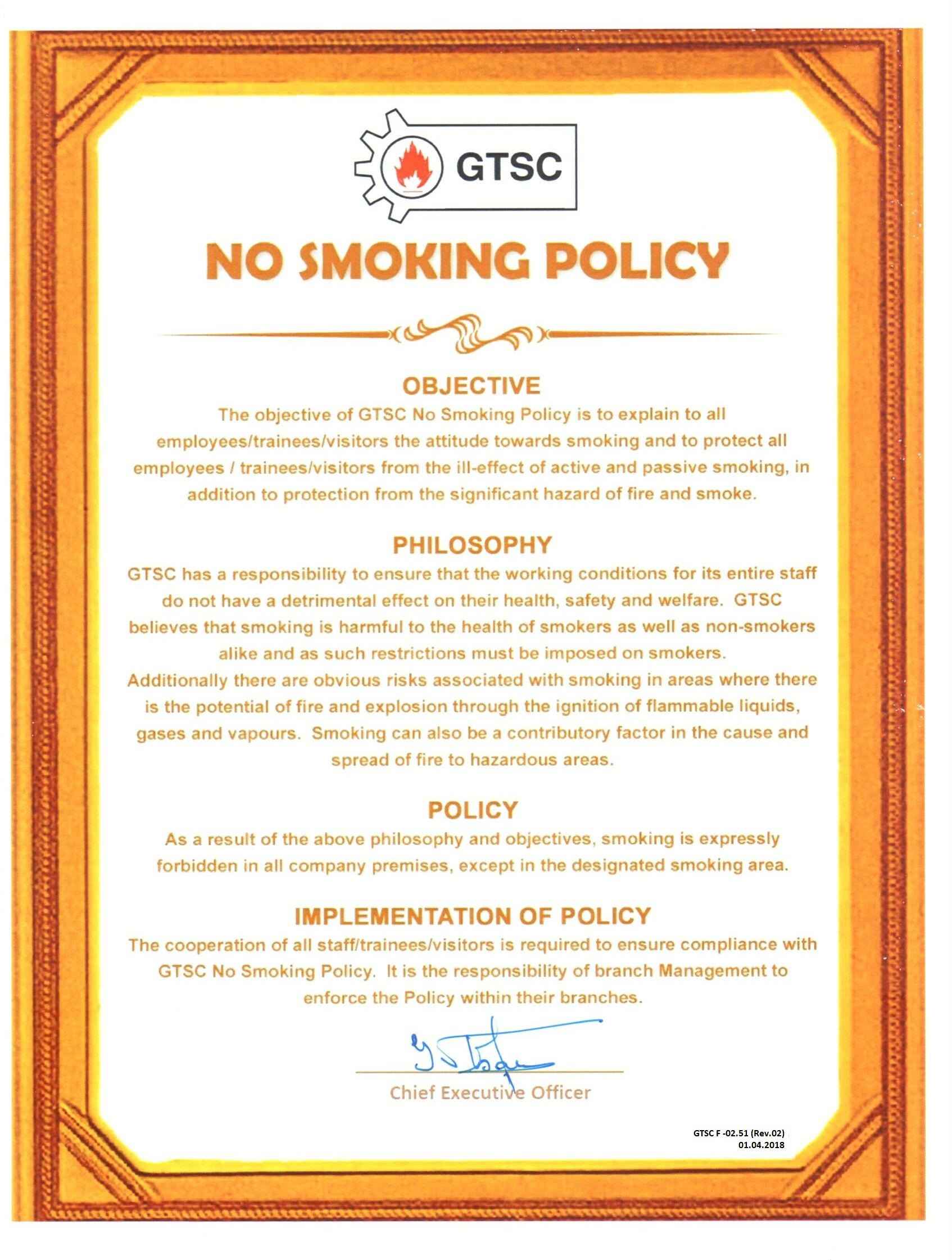 no smoking policy Both tobacco user and non-user employees may be helped by such  this policy  covers the smoking of any tobacco product and the use of.